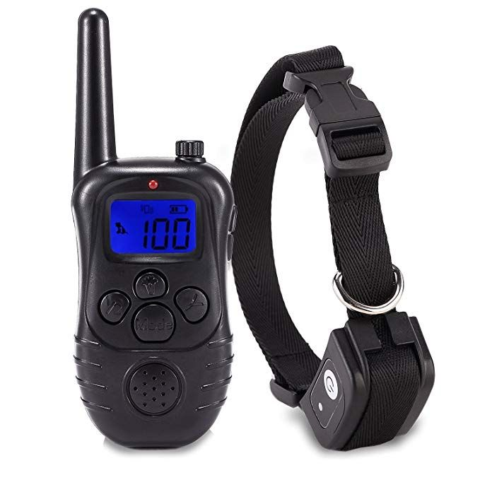 Petism Electric Dog Shock Collar Rechargeable Backlight