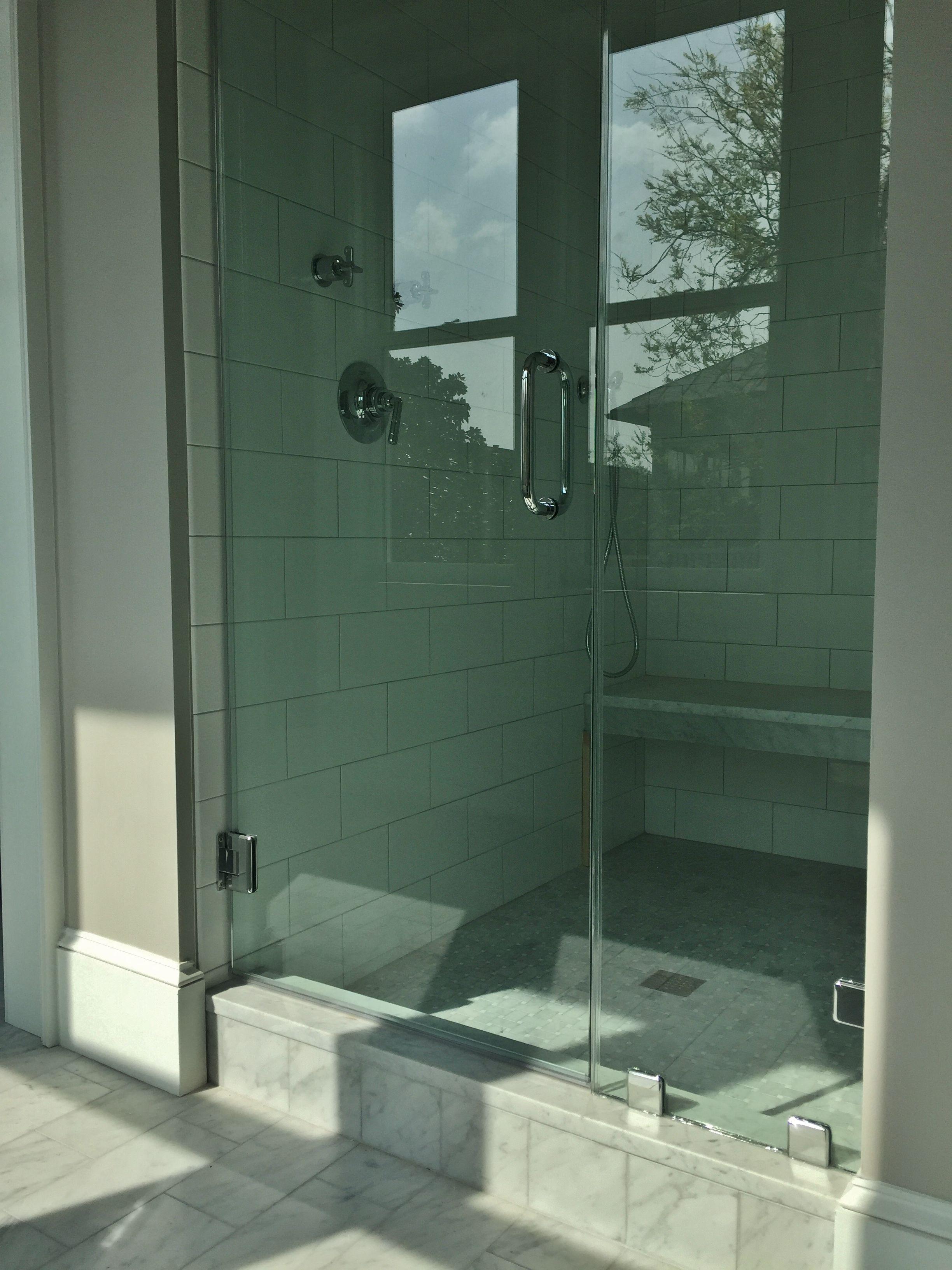 Master shower: 6x12 white subway tile with 6x12 carrara ...