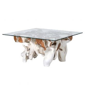 Groovy 60Cm White Square Root Coffee Table With Glass Top Made Download Free Architecture Designs Ferenbritishbridgeorg