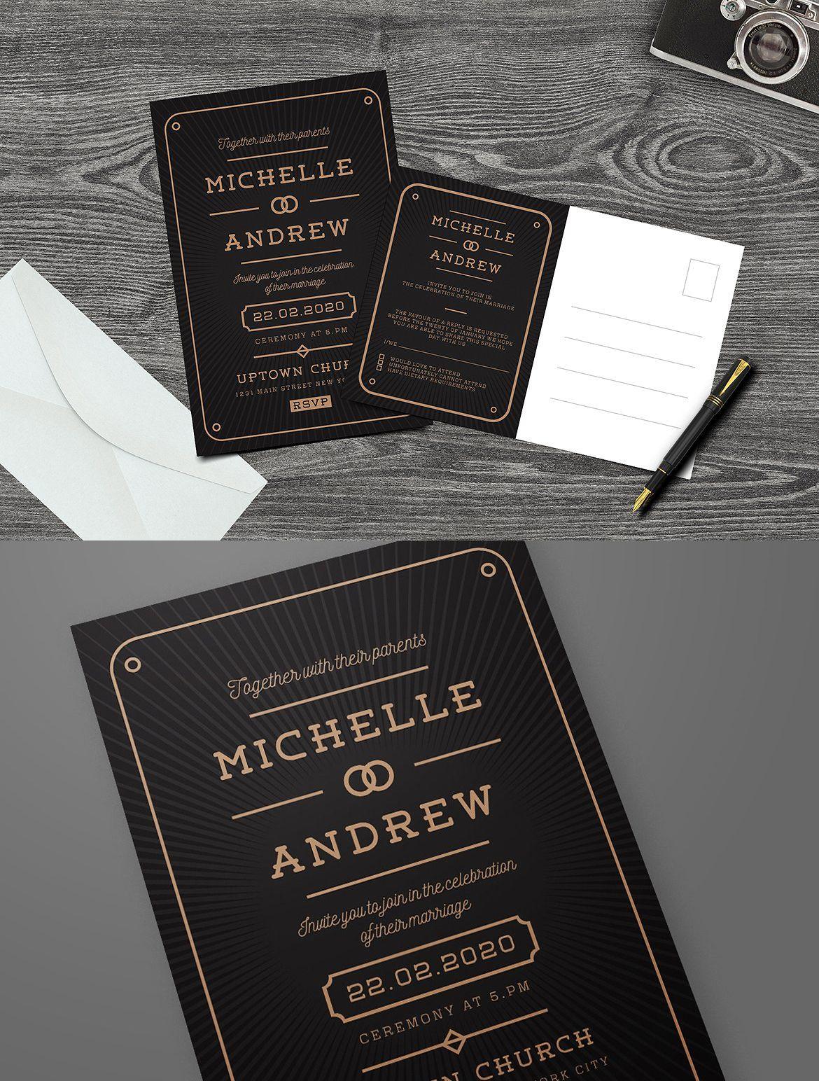 Modern Art Deco Wedding Invitation | Modern art deco, Invitation ...