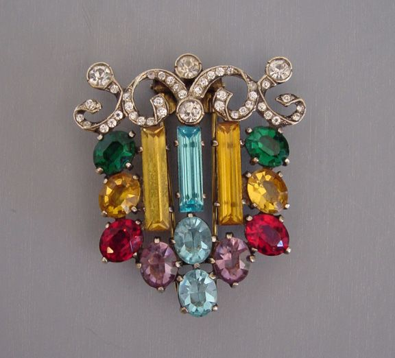 Eisenberg unsigned multi-colored fur clip topaz, red, blue from MorningGloryJewelry.com : Buy online now for $248.00