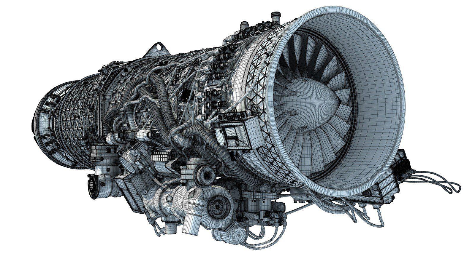 Eurojet EJ200 Turbofan Jet Engine 3D Model Jet engine