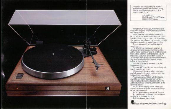 AR the Turntable Vinyl Nirvana Vintage AR and Thorens