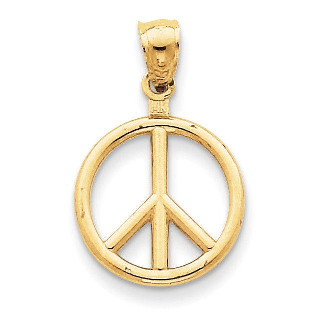 14k Polished Peace Sign Charm