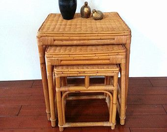 BAMBOO Nesting Tables  Stacking Tables VIntage Bamboo Tables  Rattan/  Oriental /Chinoiserie/ Chinese /Chippendale Side TV Accent Plant Table
