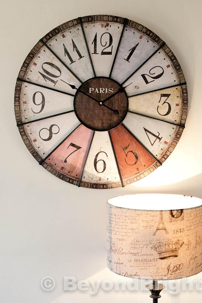 Details About New Large 60cm Wall Clock Timber Iron Vintage French Industrial Chic Free Bonus Wall Clock Vintage Style Large Vintage Wall Clocks Wall Clocks Uk