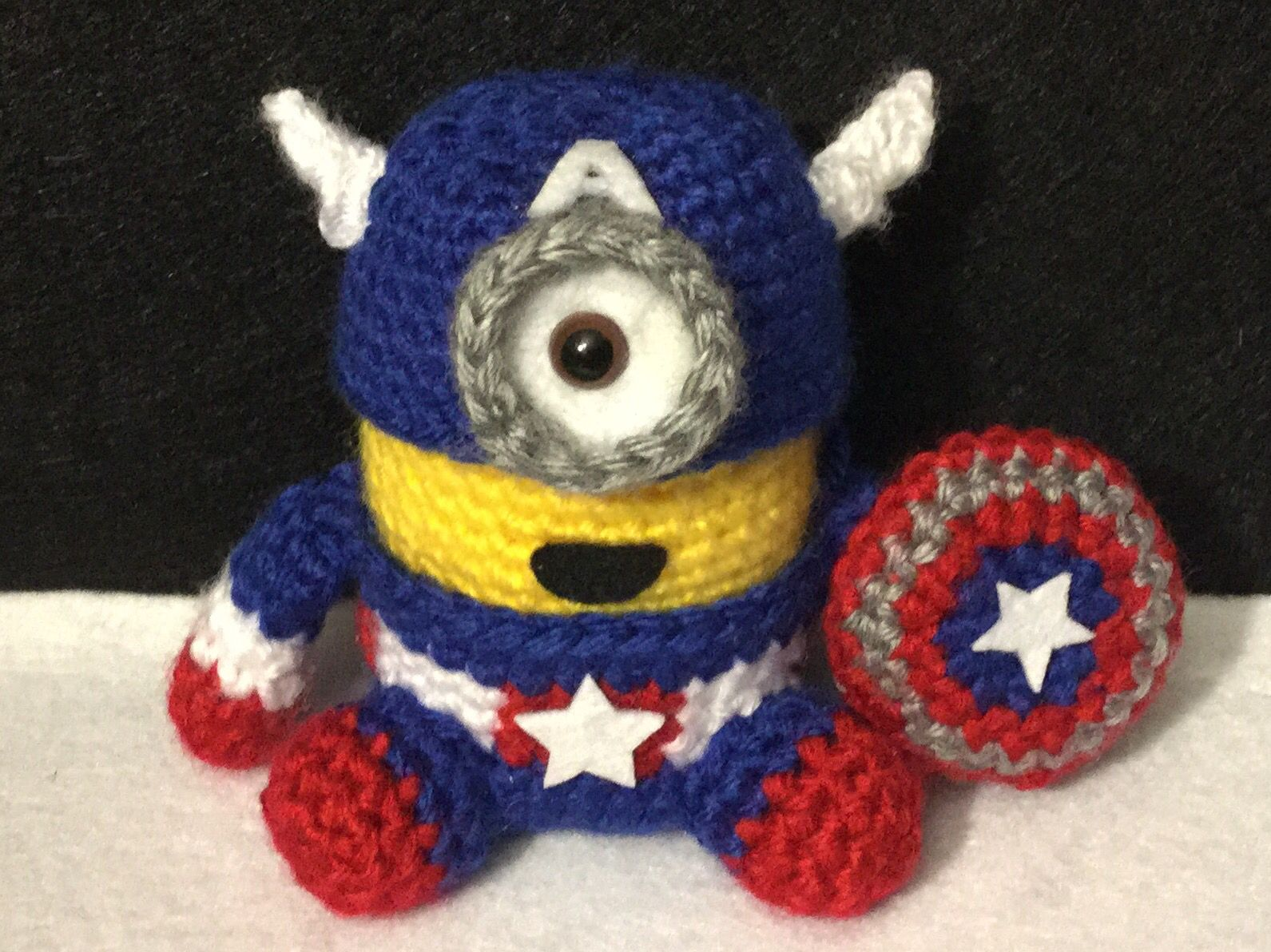 Crochet minion captain America. I just made this little guy from a ...