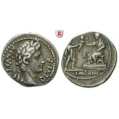 Römische Kaiserzeit, Augustus, Denar 8 v.Chr., ss: Augustus 27 v.-14 n.Chr. Denar 8 v.Chr. Lyon. Kopf r. mit Lorbeerkranz AVGVSTVS… #coins