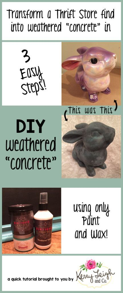 Turn a Thrift Store Find Into Weathered Concrete Using Paint and Wax! ~ #thriftstoreupcycle