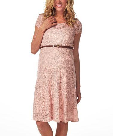 pinkblush pink lace belted empirewaist dress  empire