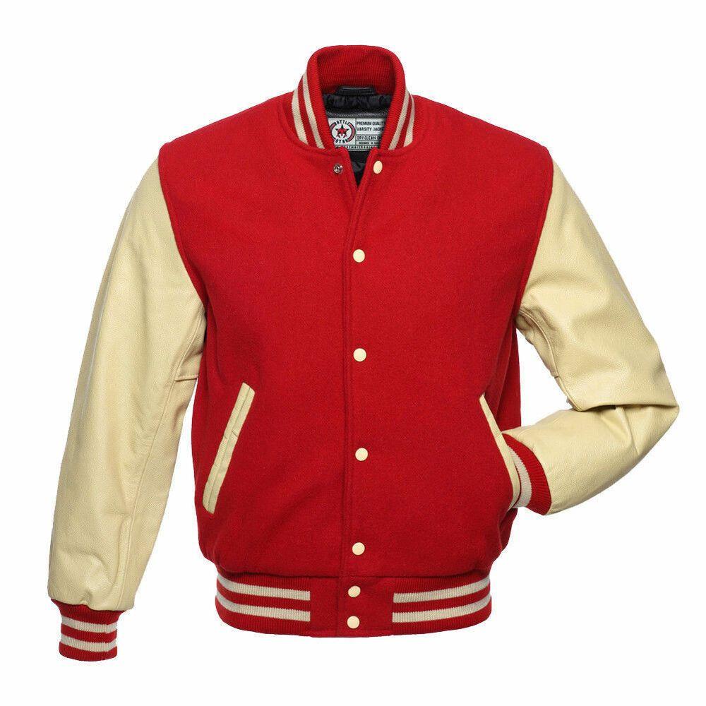 RED Wool Varsity Letterman BOMBER BASEBALL Jacket Black PURE Leather Sleeves