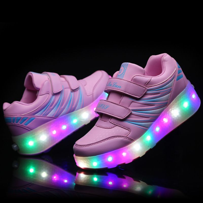 2017 New Children Double Roller Shoes Kids LED Light up