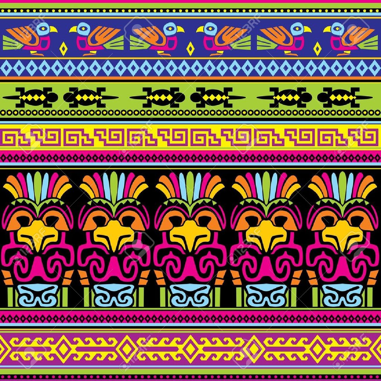 Background geometric mexican patterns seamless vector zigzag maya - Seamless Background With Animals Mexican Ornament Mexican Aztec Pattern