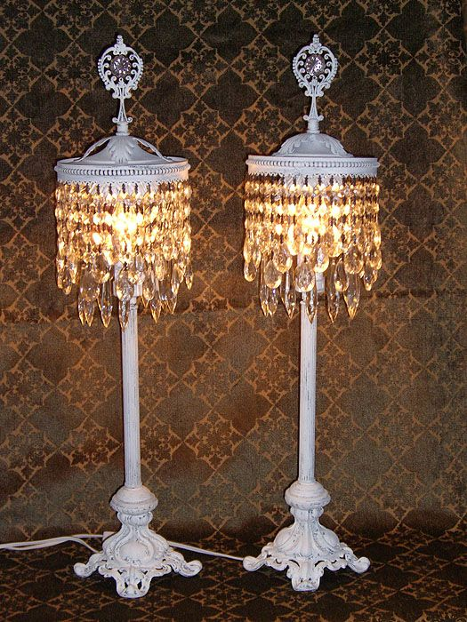 vintage chic Tabletop Chandelier Lamps Shabby Chic