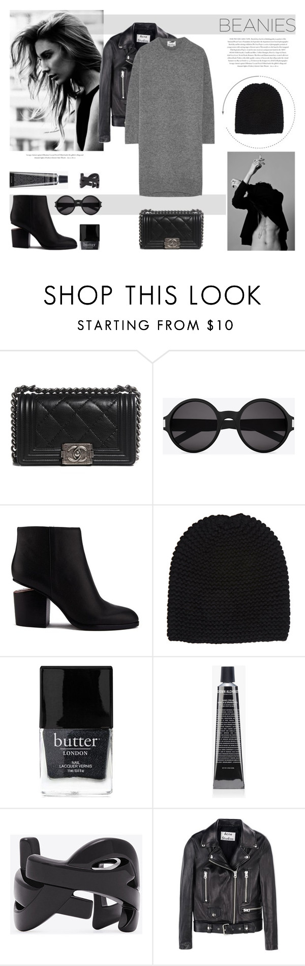 """""""Beanielove"""" by nmkratz ❤ liked on Polyvore featuring Chanel, Yves Saint Laurent, Alexander Wang, Wommelsdorff, Butter London, Grown Alchemist, Envi and Acne Studios"""