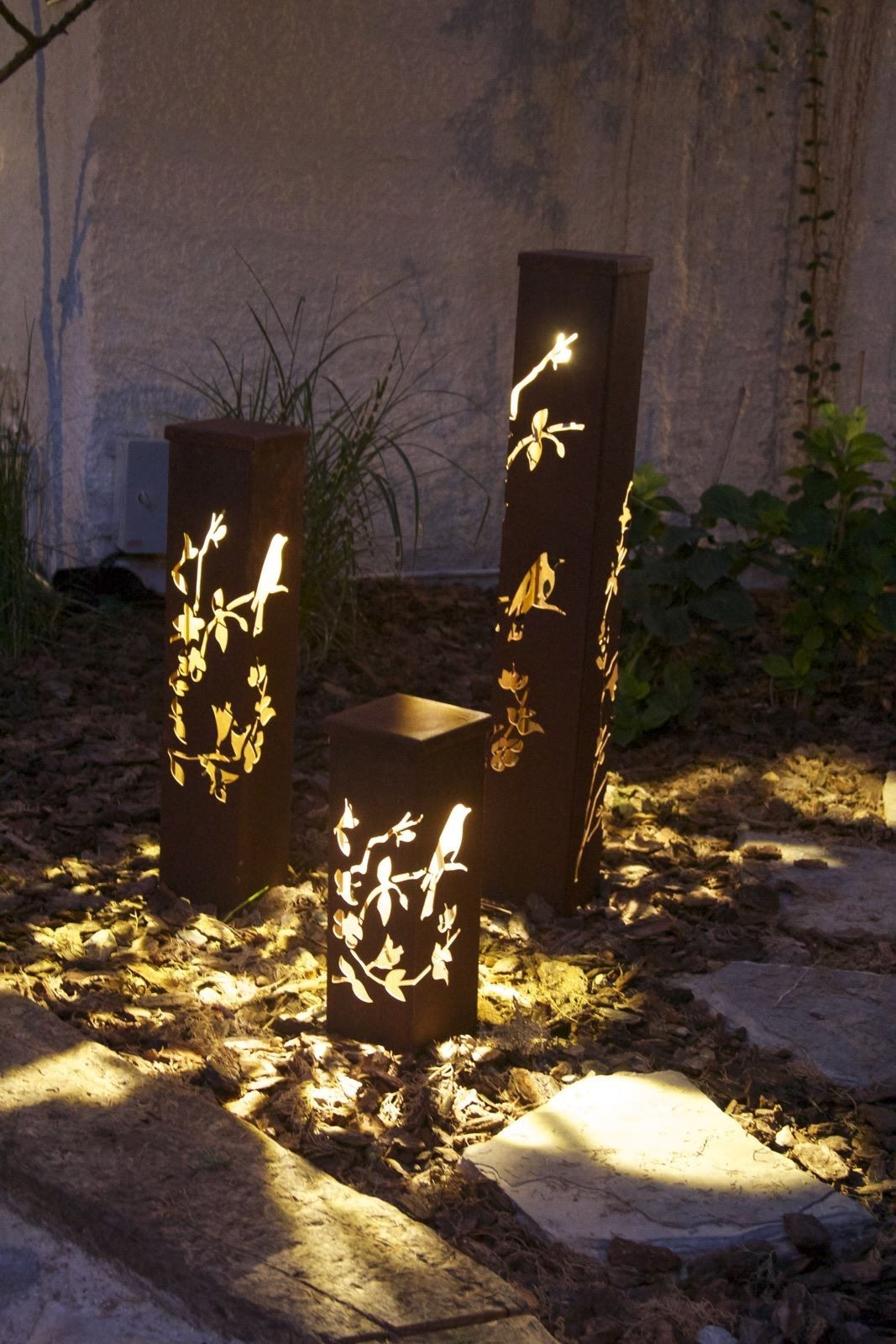 Birds On Branches Corten Outdoor Lighting Kuş Desenli