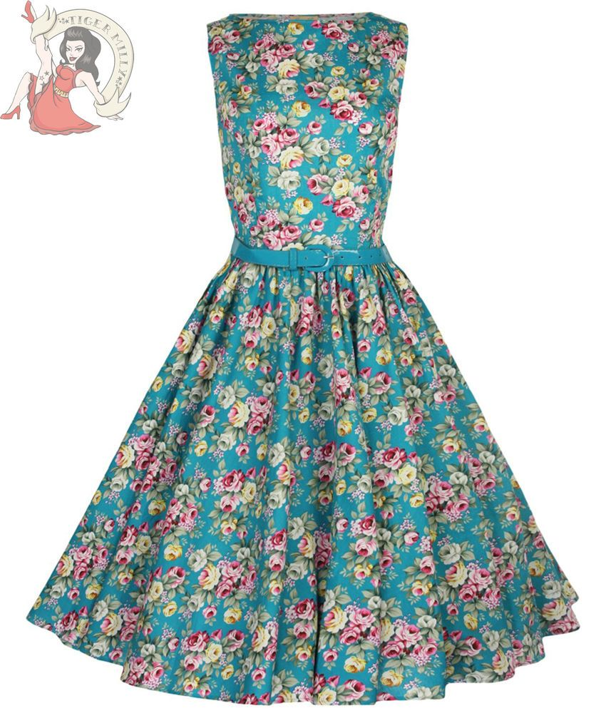 Lindy Bop 50\'s Audrey Vintage Floral Summer Dress Turquoise ...