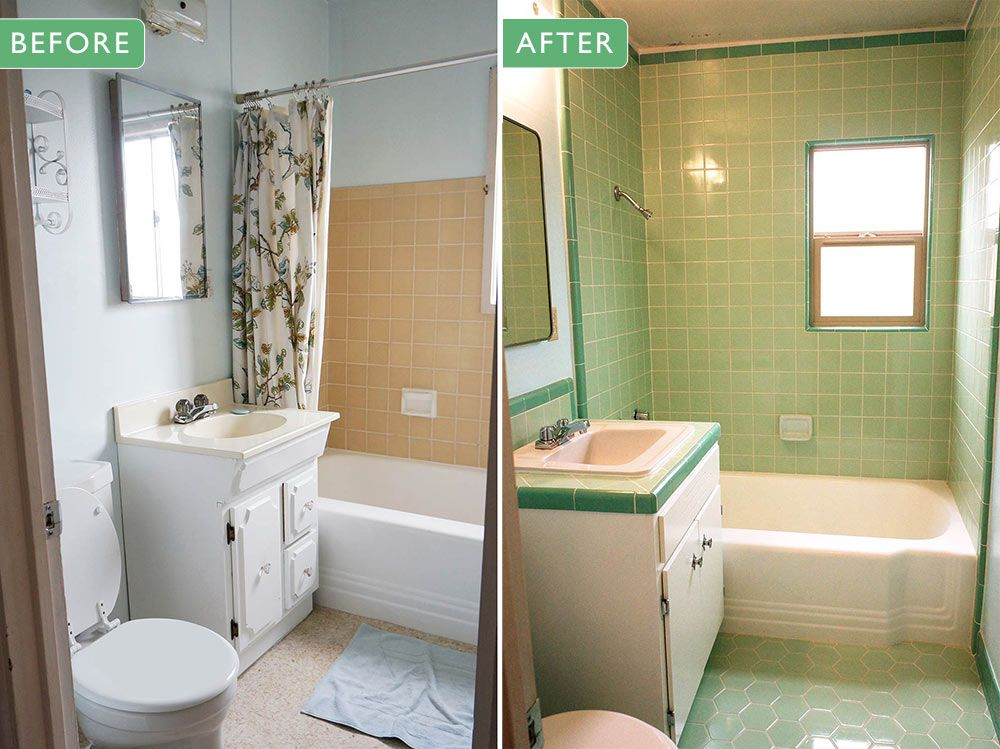 laura's green bw tile bathroom remodel in progress