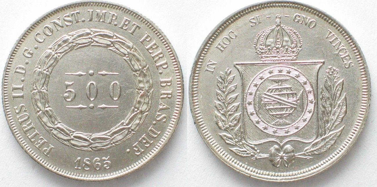1865 Brasilien Brazil 500 Reis 1865 Pedro Ii Silver Unc 96331 Unc Brasilien Reis