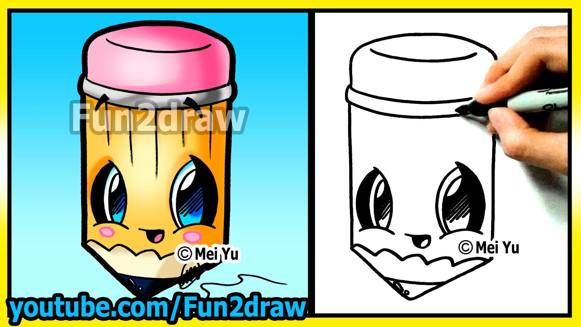Back To School Cutie How To Draw Easy Things Pencil Cartoon Drawing Fun2draw Cartoon Drawing Tutorial Easy Drawings