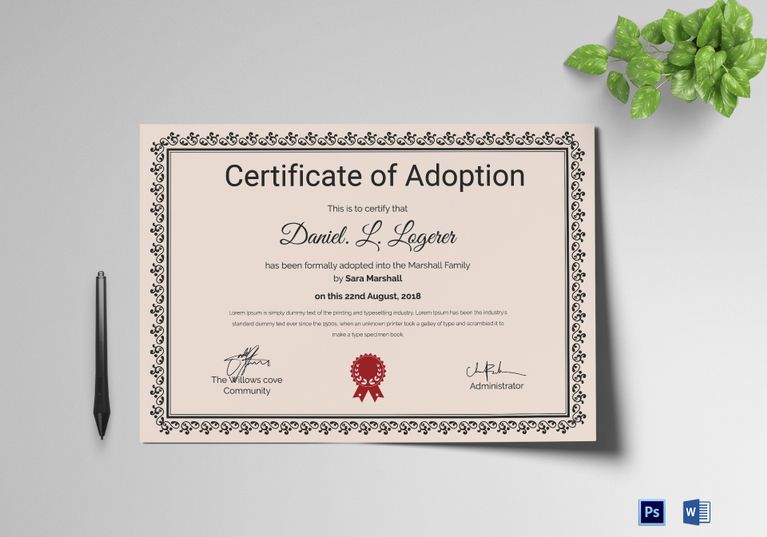 Happy Adoption Certificate Template  Formats Included  Ms