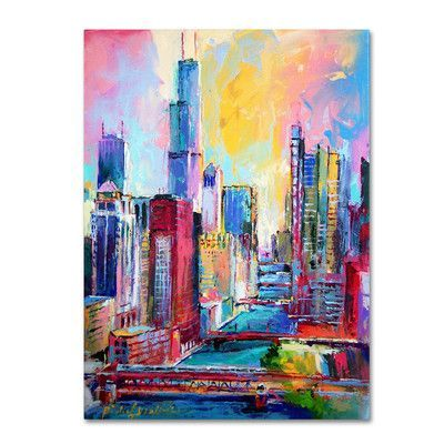 """Trademark Art 'Chicago 3' by Richard Wallich Painting Print on Wrapped Canvas Size: 32"""" H x 24"""" W x 2"""" D"""
