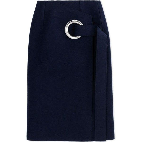 Jacquemus Wool Wrap Skirt (250.760 CLP) ❤ liked on Polyvore featuring skirts, blue, circle wrap skirt, woolen skirt, blue skirt, wool wrap skirt and circular skirt