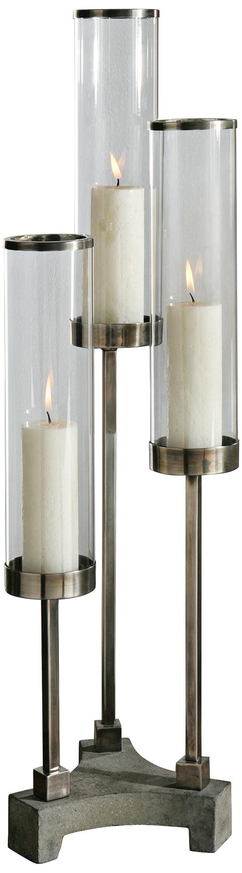 Uttermost risto cylinder brushed aluminum candle holder