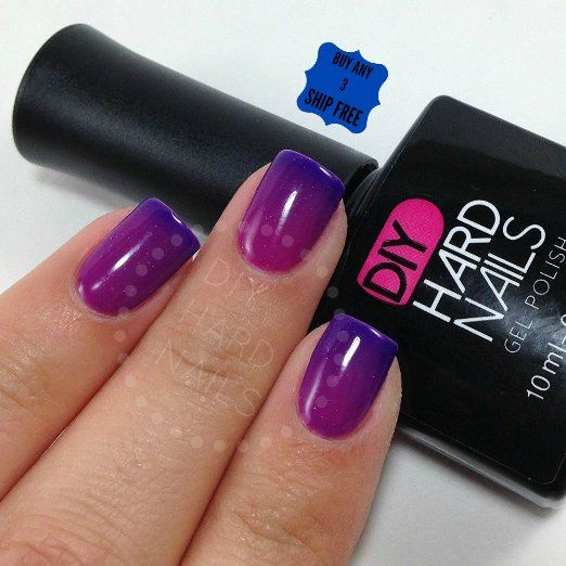 DIY Hard Nails Color Changing Gel Nail Polish, Purple Rain, 0.33 oz. with E-Book Guide