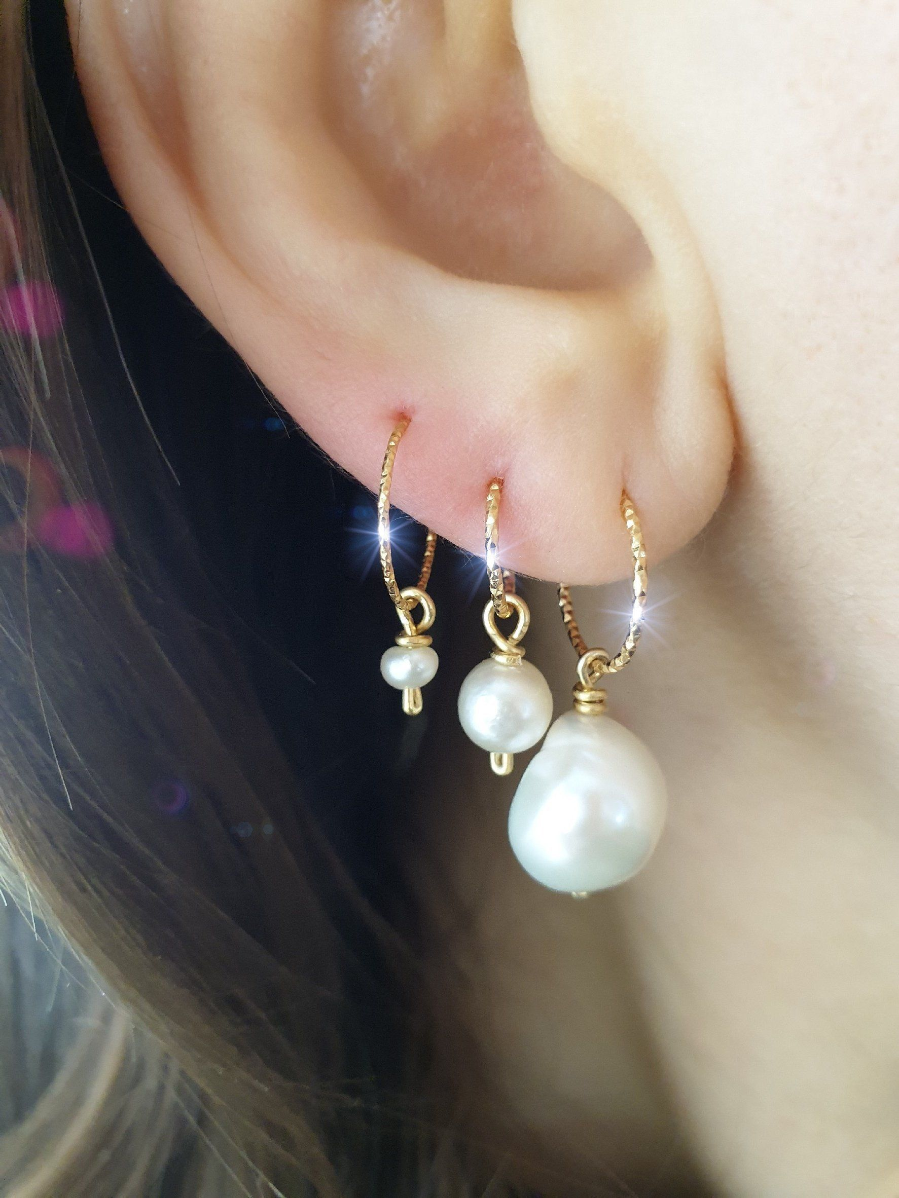 Sterling Silver Diamond Cut Design Hoop 3mm Earrings