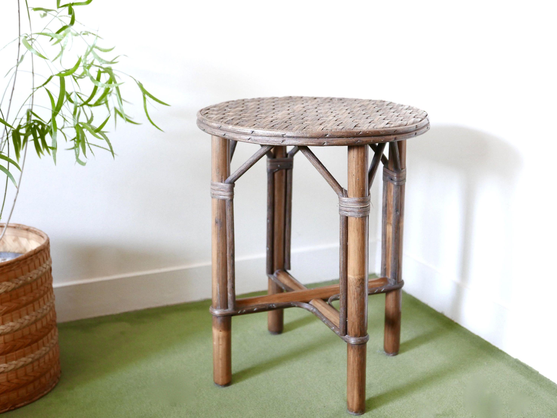 Petite Table Ou Tabouret En Bambou Et Osier Annees 50 1950