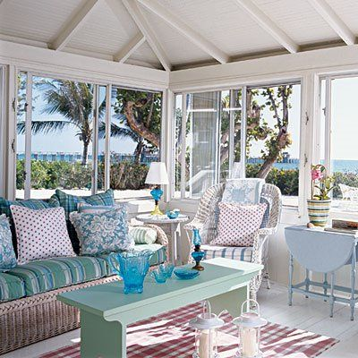 Coastal Style: Seaside Cottage  - I love the open feel with the windows