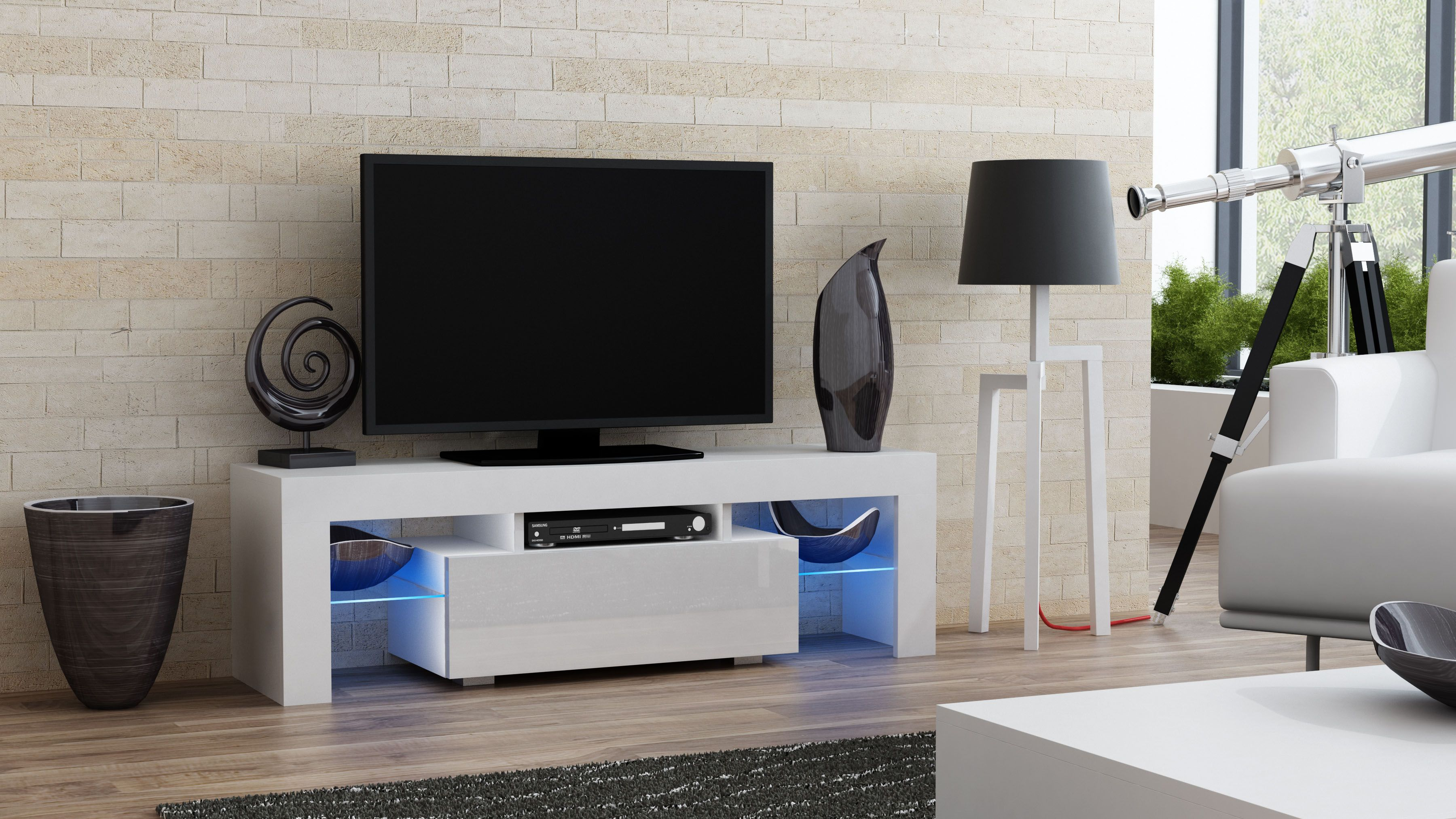 milano 130 white small tv stand