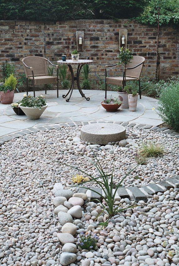 Rocks looking back to the circular patio   Circular garden ... on Circular Patio Ideas id=13946