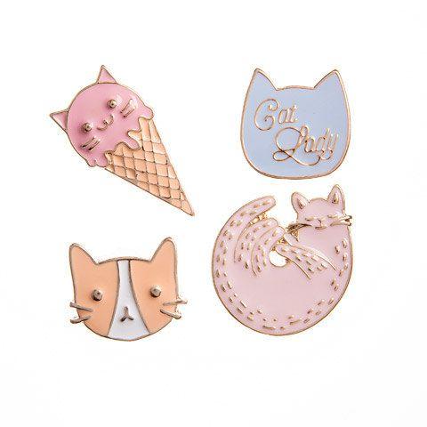 Cat Enamel Pin (4/pkg) Happy Jackets Decorative Enamel Pins Cats Meow Theme (30020587)