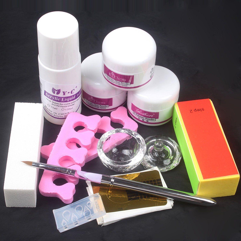 Nail Art Kit DIY Acrylic Liquid Powder Buffer Form Pen Dappen Dish ...