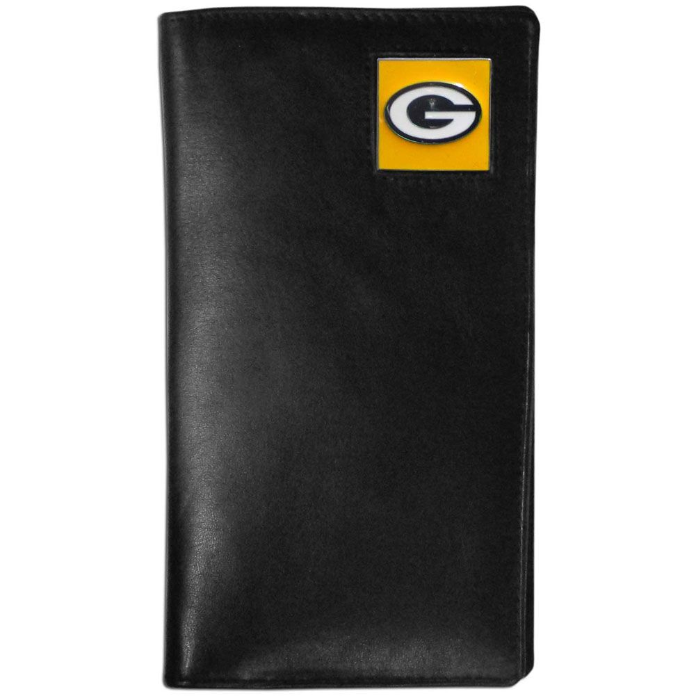 Green Bay Packers Tall Leather Wallet In 2020 With Images Leather Checkbook Cover Checkbook Cover Green Bay Packers