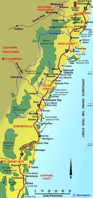Central Coast Australia Map.South Coast Nsw Map Clickable Map With Tourist Details Australia