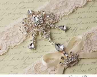 SALE Wedding Garter Set Ivory Stretch Lace Bridal Heirloom Rhinestone And Crystal Garters