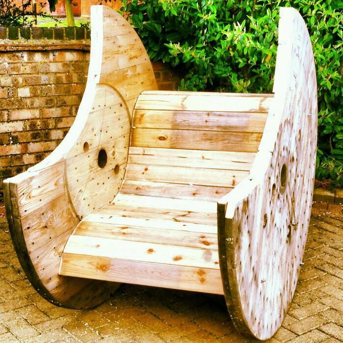 Hand Made Cable Drum Rocking Chair Can Be Hand Made To Order 1 Available To Take Away Custom Orde Spool Furniture Garden Projects