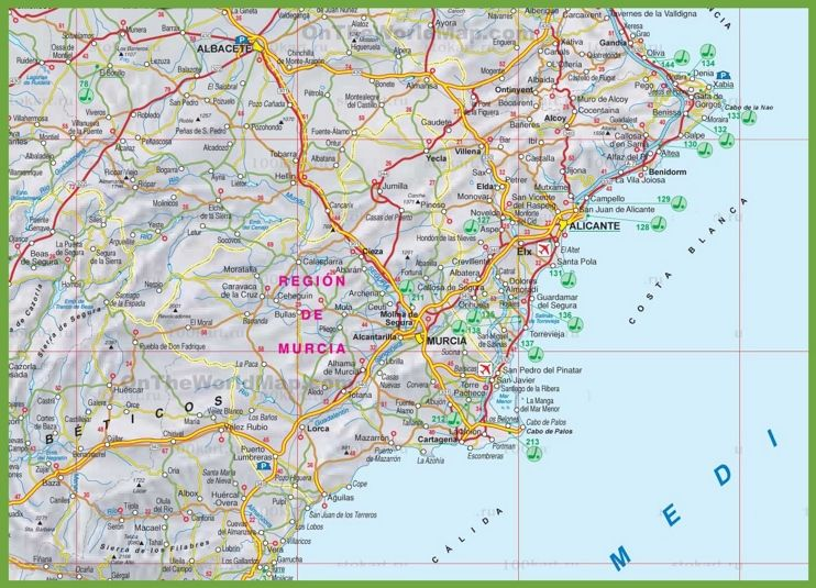 Murcia Map Of Spain.Region Of Murcia Tourist Map Spain Murcia Tourist Map Murcia Map