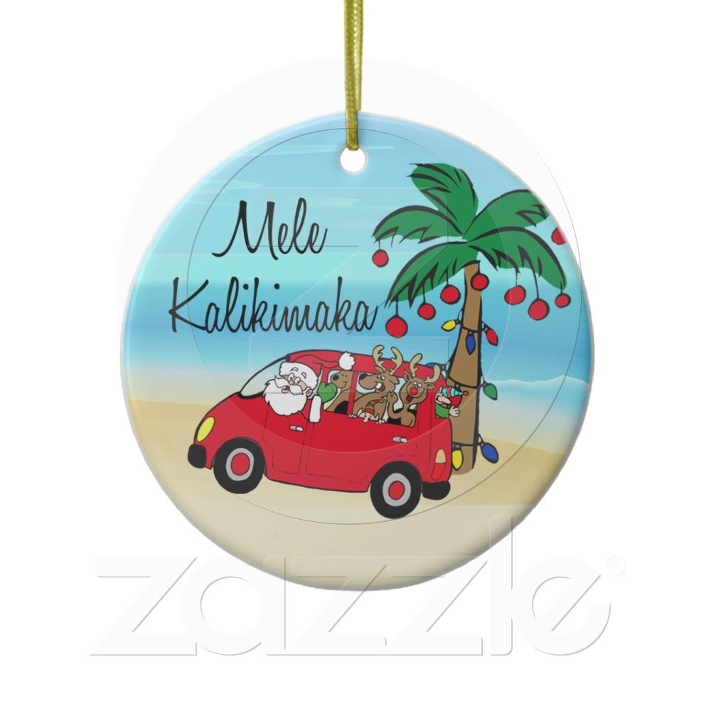Driving Santa Tropical Hawaiian Christmas Ornament | CHRISTMAS ...