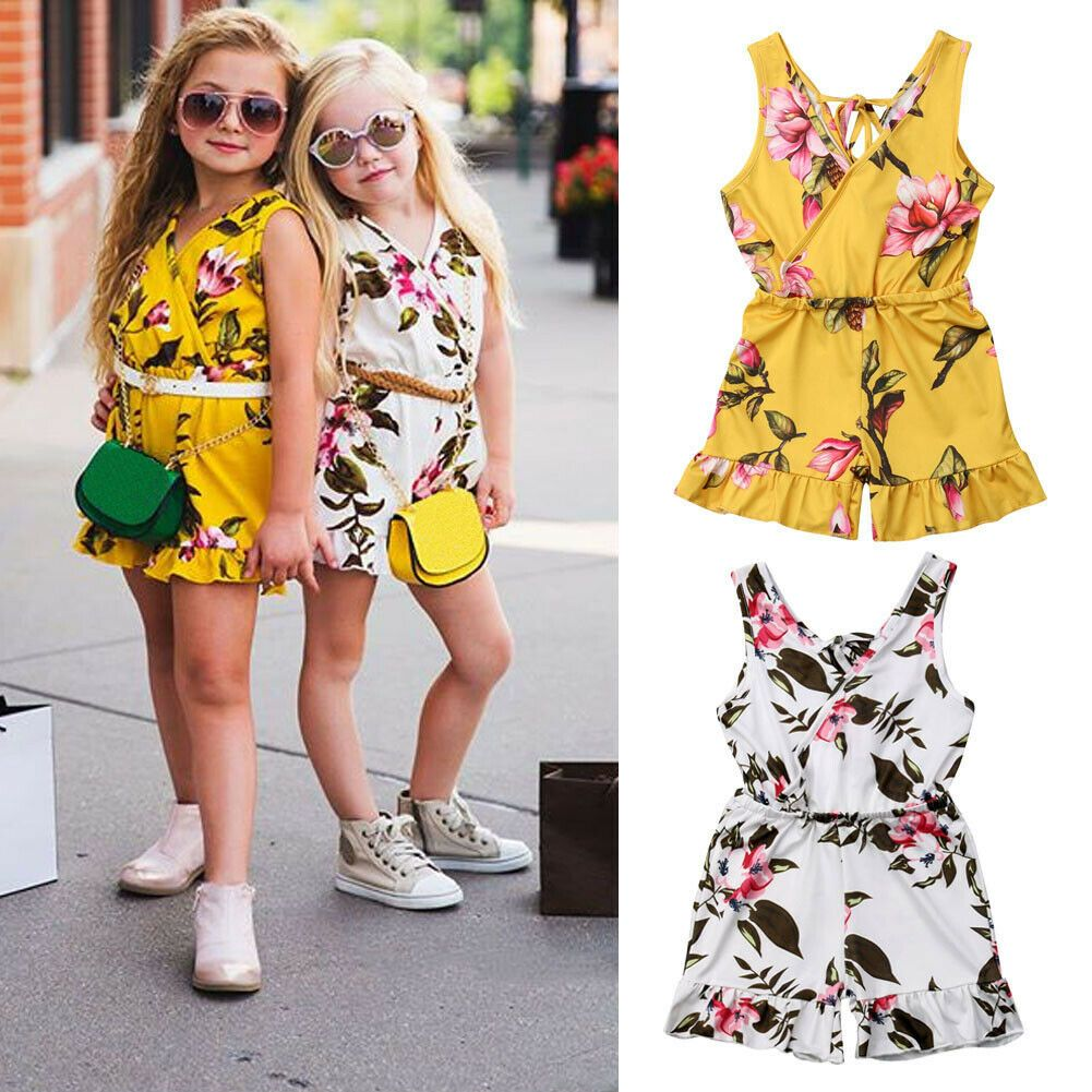 Flower Toddler Baby Girls Overall Romper Jumpsuit Sunsuit Outfits Clothes Summer