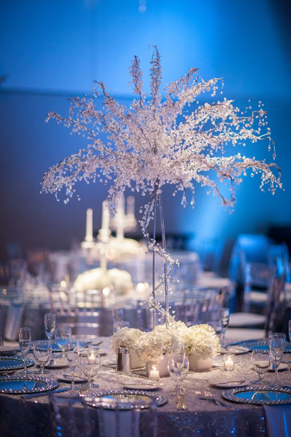White Silver Blue Winter Wonderland Wedding At A La Carte