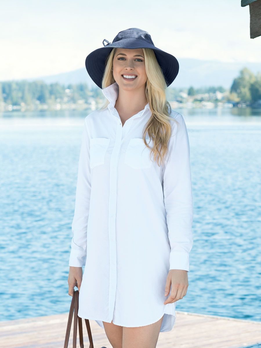 ab7e2ff19d8 This Solumbra I fabric cover-up boasts a top-to-bottom front button  placket, two chest patch pockets, snazzy button cuffs, ...