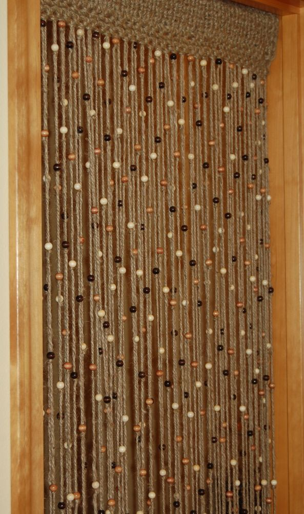 Handmade natural jute crochet with wooden beads door way curtain ...