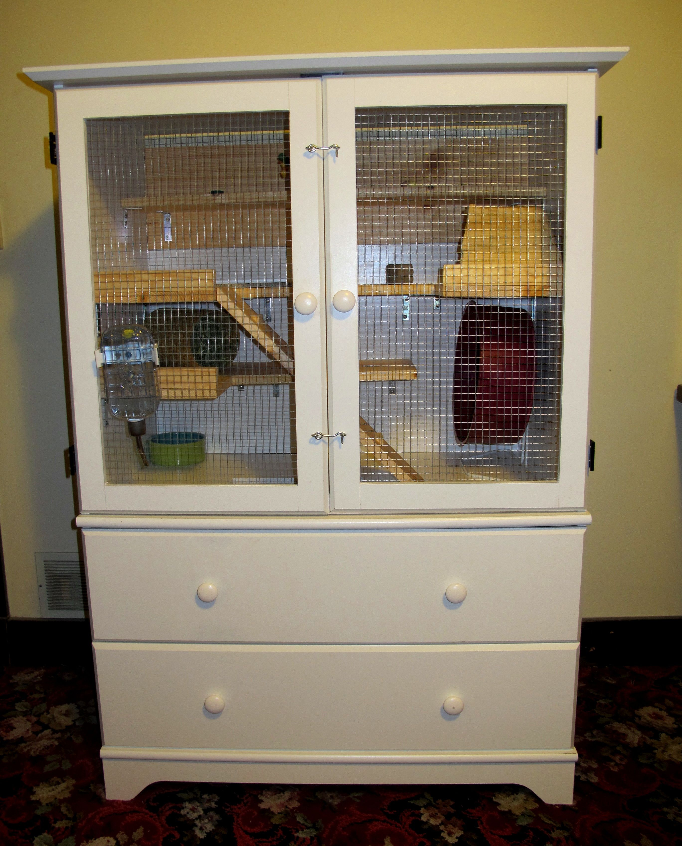 Diy Chinchilla Pet Cage Outside View Of A Chinchilla Cage We Fashioned From A Secondhand