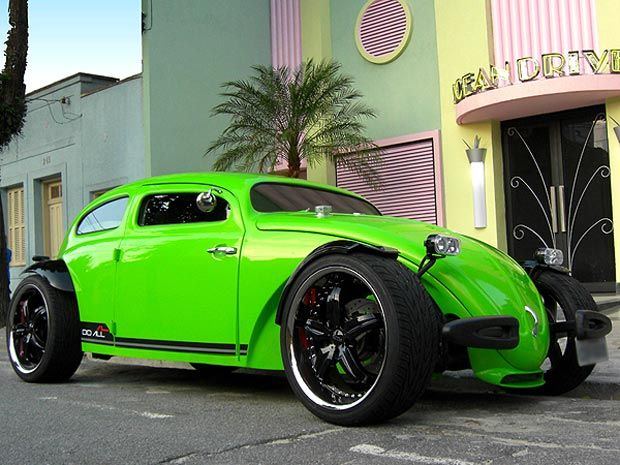 Chopped and dropped VW hotrod in neon green. car