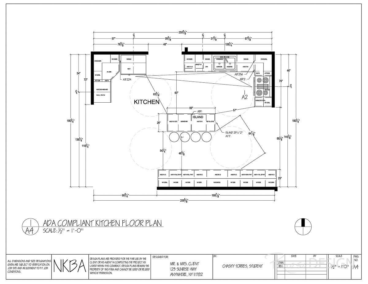 Kitchen Floor Plan   ADA Compliant; Kitchen Floor Plan Modified Should  Client Become Handicapped. Island Has Been Modified As Well As Cabinetry  And ...