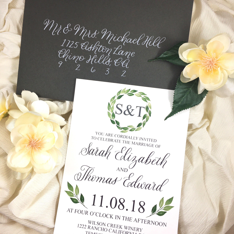 Greenery Wedding Invitation Template - Simple and elegant invite ...